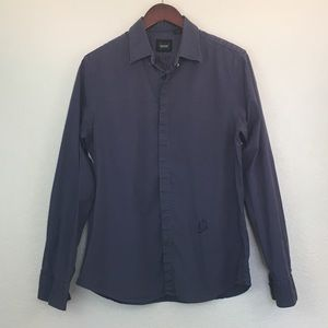 Guess Navy Long Sleeves Button Down Shirt L